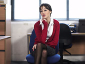 Naughty secretary in stockings Jenny shows striptease in the office