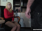 Blonde nympho is caught during masturbation and fucked by horny old boss