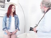 Libidinous red head Tiffani Love hooks up with fat old photographer