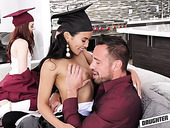 Two graduate students swap their step daddies for crazy foursome sex