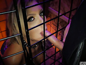 Whore in the cage Kenzie Taylor enjoys sucking two hard cocks and gets laid
