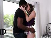 White girlfriend Sadie Holmes gets her pussy licked and fucked by hot blooded black guy
