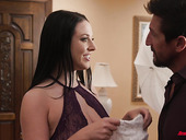 Always sex-starved wife Angela White takes cumshots on big natural boobs