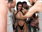 Professional slut Gianna Dior gets messy facial after ultimate blow bang scene