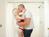 Tattooed masseuse Dakota Skye gives a nuru massage and gets double penetrated