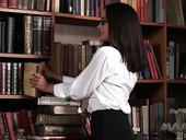 Nerdy librarian in glasses gets double penetrated for the first time