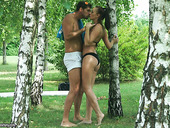 Wonderful and passionate outdoor sex of just married couple