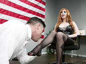 Sexy congresswoman Lauren Phillips puts on strapon and fucks on submissive dude