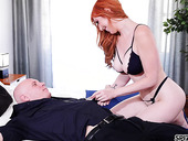 Femme fatale wife Lauren Phillips bangs her cop husband until he cums all over her boobs