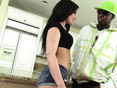 White bitch Jennifer White gets her anus fucked by horny black fellow