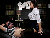 Sex-starved librarian Gia DiMarco ties up and fucks one submissive dude