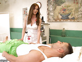 Posh nurse in uniform and stockings Alice Romain gives a blowjob and gets her anus fucked