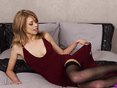 Elegant woman in sexy dress Eva gets naked and shows yummy pussy doggy style