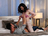 Brunette wife Casey Calvert is eager for crazy sex with her handsome husband