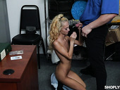 Indifferent teen Sadie Hartz gives a blowjob and gets punished for shoplifting