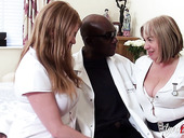 Two chubby head nurses bang one black man and eat his cum greedily