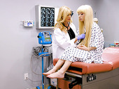 Lesbian gynecologist Serene Siren can't stop eating fresh pussy of pretty blond teen