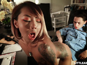 Petite Asian chick with small tits Kimberly Chi bangs tied up policeman