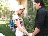 Filthy blonde Nikki Snow seduces daddy of best girlfriend and bangs him on the lawn