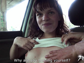 Slutty chick Babe Dream gives a blowjob in the car and gets fucked hard