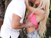 Pretty teen Kenzie Reeves gets messy facial after hardcore pussy pounding in public