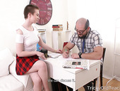 Lustful teen Eva Abel gets intimate with bearded teacher in glasses