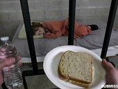 Prison whore Cleo Clementine gives a blwojob and gets fucked for bread and water
