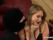 Robber in mask bangs seductive housewife Cadence Lux and cums on her face