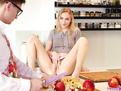 Sex-crazy teen Jenny Wild offers herself right on the kitchen table
