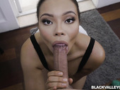 Sexy ebony girl Adriana Maya is craving for crazy sex with white neighbor