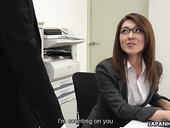 Sexy carreer woman from Japan Mao Saitou is masturbating pussy in the office