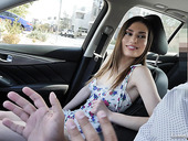 Naughty babe Kamryn Jade shows yummy pussy in the car and does her best in hot casting video