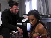 Kinky white dude fucks tied up black babe Demi Sutra and cums on her snatch