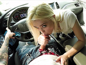 Teen without bra Anastasia Knight gives a great blowjob in the car