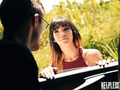 Sexy passenger Kitty Carrera is face fucked by stranger driver