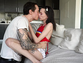 Anorexic teen Aria Haze enjoys a huge thick phallus of tattooed fellow Owen Gray