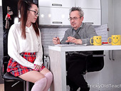 Asian coed with pigtails Li Loo hooks up with old perverted teacher