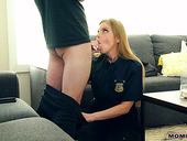 Super sexy cop mom in uniform Britney Amber is fucked by cuffed stepson