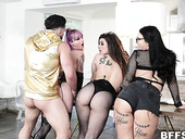 Three bitches with plump asses fuck one hot guy and take cumshot shower