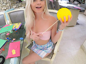 Petite blondie Elsa Jean is fucked and fed with sperm in hot POV video