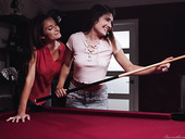Wise lesbian Silvia Saige is fucking young brunette on the billiard table