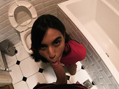 Dude takes out hard cock in front of pissing stepsister Soyivania