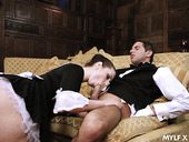 Naughty maid Paige Turnah gives a blowjob to horny butler