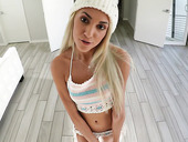 Blondie in hat Hime Marie is dildo fucking pussy before blowjob session