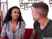 Sex-appeal black babe Demi Sutra gets screwed by hot blooded white guy