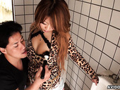 Kinky dude is toying hairy pussy of Yuria Takeda in a public toilet