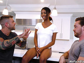 Two hot white guys fuck sexy ebony babe Nia Nacci and cum on her face