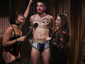 Hot mistress Chanel Preston and her assistant fuck one tied up submissive man