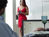 Lubricious babe in red dress and shoes Renata Fox gets intimate with foot fetish guy