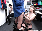 Super sexy milf Britney Amber is fucked by security guy in front of adult stepson